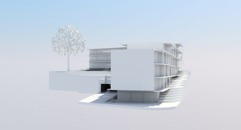 BG Münsingen - Weißes Modell_Perspektive 1